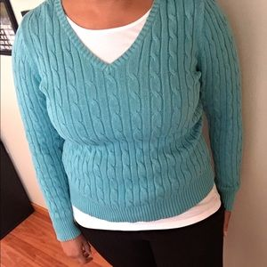 St Johns Bay classic V neck cable knit sweater